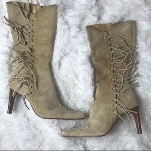 Mossimo Fringe mid- calf faux suede boots 👢